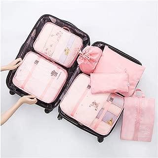 7Pcs SET Travel Luggage Organizer Packing Cubes Set Storage Bag Waterproof Laundry Bag Traveling Accessories Pink (PINK)