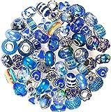 Cuentas espaciadoras europeas de gran agujero, 60 cuentas de aleación de resina acrílica para collares y pulseras de joyería, set de regalo para niñas, adultos y niños (azul)