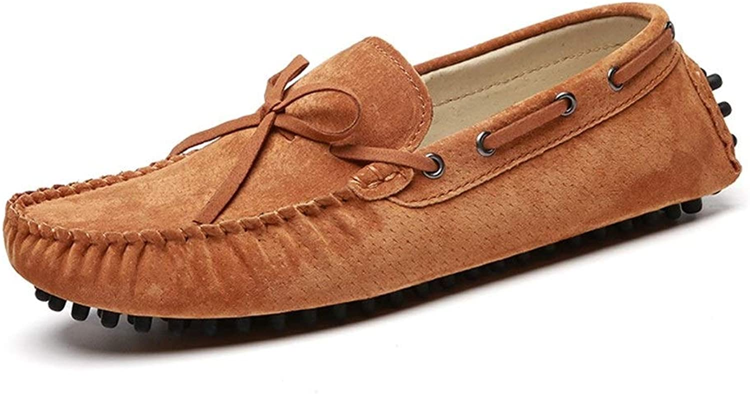 Easy Go Shopping Driving Loafer for Men Boat Moccasins Slip On Style Pigskin Leather Handtailor Fashion Bowknot Cricket shoes (color   Brown, Size   8.5 UK)
