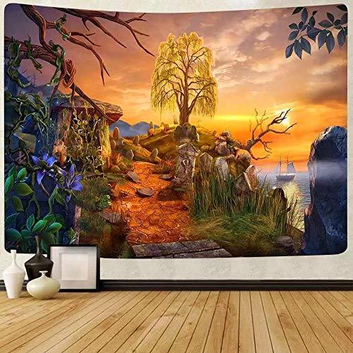 Tapiz de mar de verano tapiz de flores de bosque tapices para colgar en la pared para sala de estar dormitorio hogar manta decoración de dormitorio 150x180cm