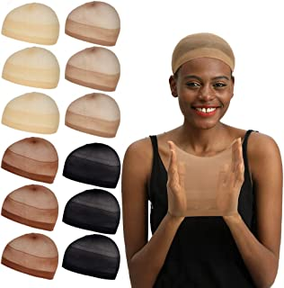 REECHO 12 Pack Wig Caps for Women Men One-Size Halloween Costume Cosplay Accessory Stocking Nylon Color: Nude Beige and Light Brown and Dark Brown and Black