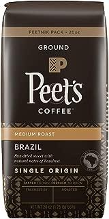 Peet's Coffee Single Origin Brazil, Medium Roast Ground Coffee, 20 Ounce Peetnik Pack
