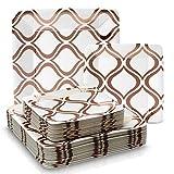 VAJILLA PARA FIESTAS DESECHABLE DE 432 PIEZAS | 216 platos grandes | 216 platos para ensalada/postre | Para bodas y comidas de lujo | Cuadrados de color rosado metalizado - Moroccan Collection