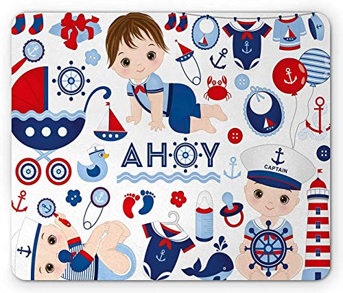 Barnkammare musmatta, nautiska kostymer sjöman bebiskläder på vanligt bakgrundsmönster, rektangel halkfri gummimusmatta, standardstorlek, havsblå och mörk korall
