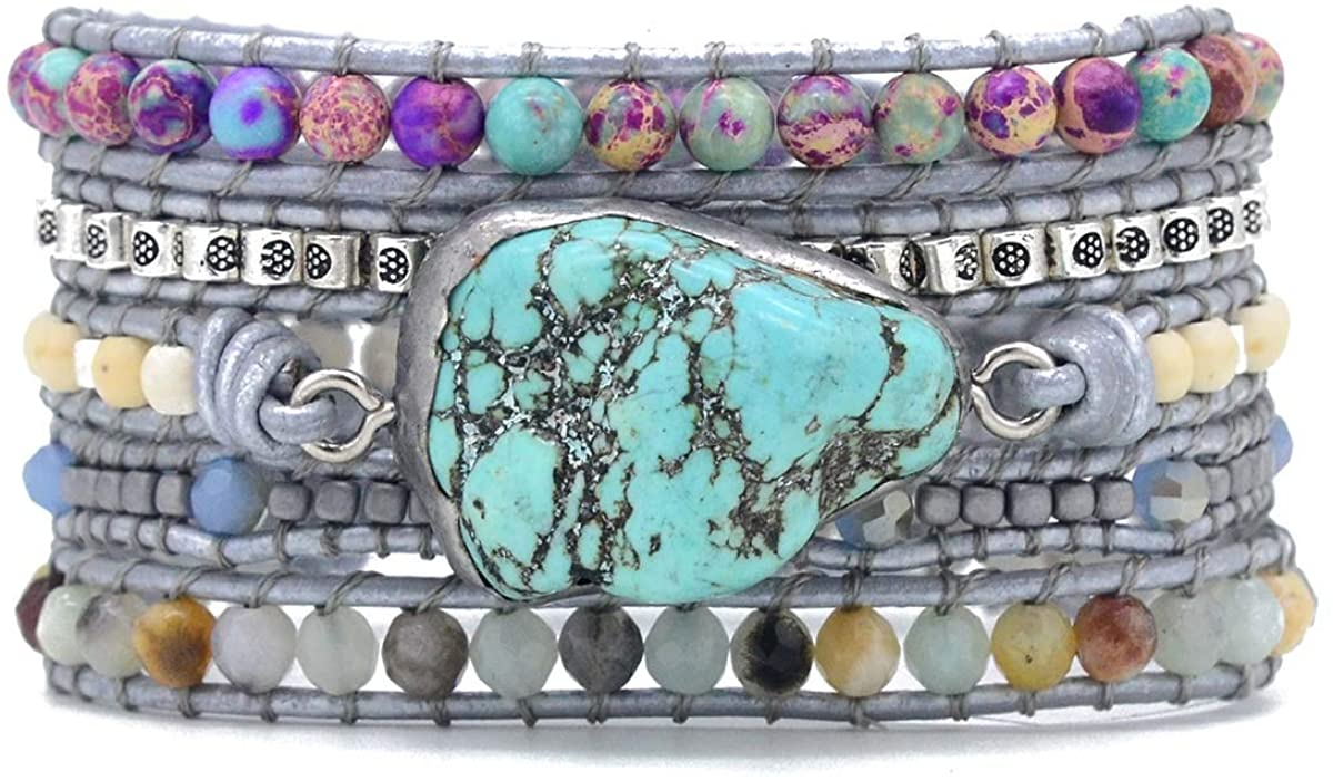Starto Handmade 5 Wrap Bracelet Natural Jasper Druzy Turquoises Leather Boho Bracelets Jewelry