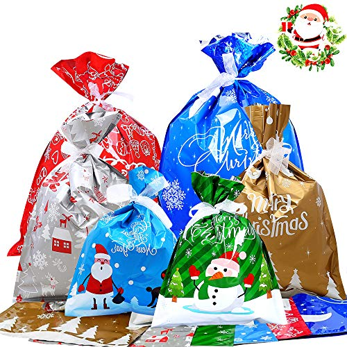 Yansion 30 PCS Christmas Drawstring Gift Bags Wrapping Bags Holiday Treats Bags Goody Bags Assorted Styles with Xmas Present Tags Label for Birthday Christmas Party Favor with 30 PCS Ribbon Ties