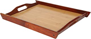 Wood Food Serving Tray with Double Handles - For Breakfast in Bed, Party Service, and More - Brown/Tan - 17 x 12 inches