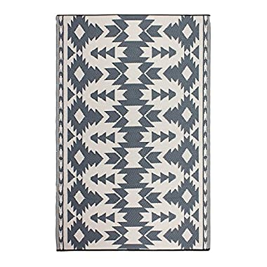 Fab Habitat Reversible, Indoor/Outdoor Weather Resistant Floor Mat/Rug - Miramar - Gray (4 ft x 6 ft)