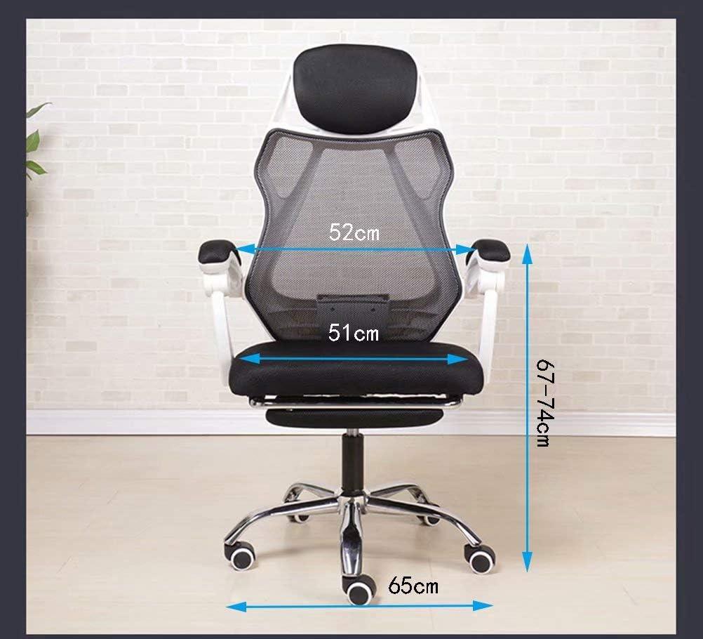YCYHMYF Chaise de Bureau Chaise de Bureau Ergonomique Chaise d'ordinateur en Maille Soutien Lombaire Tabouret réglable Chaise pivotante roulante pour Les maux de Dos Black