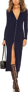 CMZ2005 Women's Button Down Long Sleeve Sweater Dress Bodycon Party Maxi Dress 6088 (XXS, Navy)