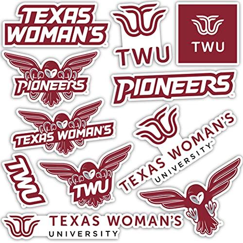 Texas Woman's University TWU Pioneers Sticker Vinyl Decal Laptop Water Bottle Car Scrapbook (Type 2 Sheet)