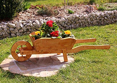 Pflanzschubkarre Blumenkarre Schubkarre aus Holz behandelt (mittel)