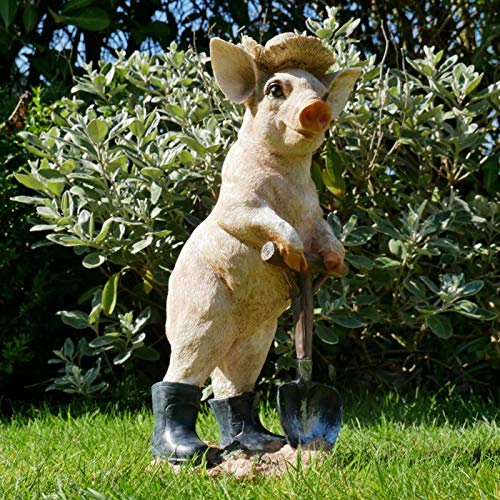 New Resin Outdoor Garden Standing Pig With Spade Lawn Sculpture Statue Ornament