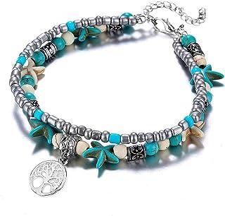 YooAi Multilayer Boho Starfish Turtle Anklet Perline per Gioielli da Donna