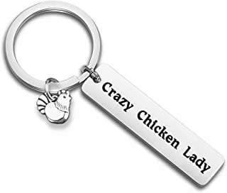 Crazy Chicken Lady Keychain Chicken Lover Gift Country Girl Gift Farm Girl/Wife Gift