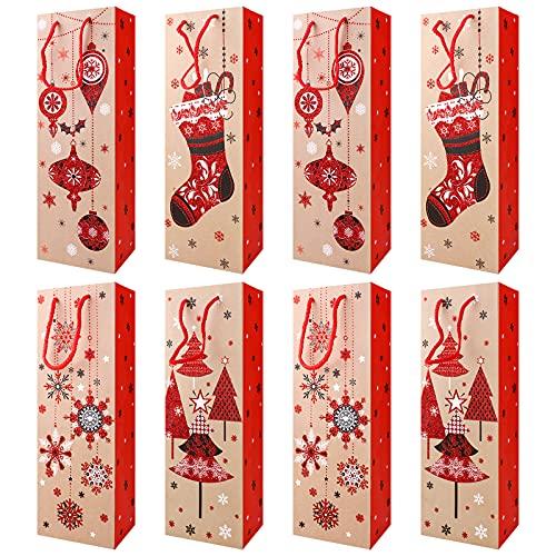Bolsas para botellas de Navidad, 8 piezas bolsas de regalo de papel para vino Cubierta de botella de vino de Navidad bolsas de papel para champán con asa para cumpleaños, bodas, aniversario, favores