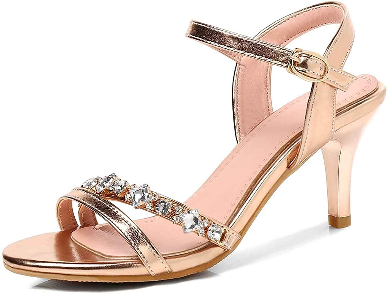 Unm Women's Open Toe Sandals Bling Rhinestones - Simple Stiletto Middle Heel - Dressy Buckled Ankle Strap