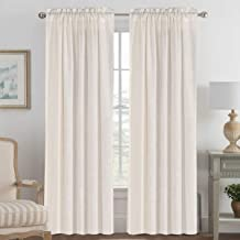 Linen Curtains Light Filtering Privacy Protecting Panels Premium Soft Rich Material Drapes with Rod Pocket, 2-Pack, 52 Wide x 96 inch Long, Natural