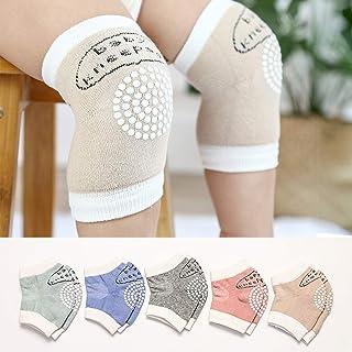 JAWSEU, JAWSEU 1 par de rodilleras de algodón para bebé con puntos de goma, rodilleras, coderas, piernas, calentadores, calcetines para bebé niño y niña, 0 – 2 años, color caqui