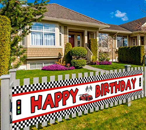Lager Race Car Happy Birthday Banner, Red Racing Themed Party Supplies Decorations, Let's Go Racing Checkered Flag, Backdrop Background Table Cover (9.8 x 1.6 feet)