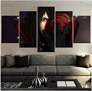 Junewind Canvas Painting Hd Print 5 Panel Madara Uchiha Naruto Anime Painting Canvas Wall Art Picture Home Decoration Living Room Canvas Painting-SIZE1