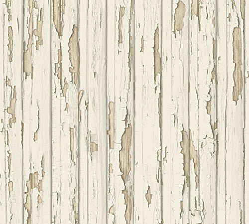 A.S. Création Vliestapete Dekora Natur Tapete in Vintage Holz Optik 10,05 m x 0,53 m beige creme weiß Made in Germany 958831 95883-1