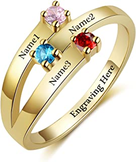 JewelOra Personalized Women Rings with 3 Simulated Birthstones 3 Names Engraved Mother Rings Promise Rings for Her