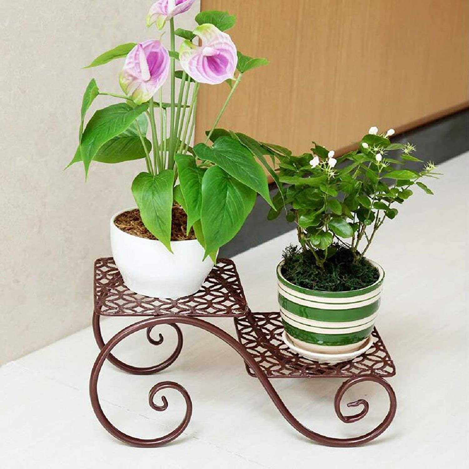 Gifts & Decor Plant Stand Shelf Flower Racks Iron Art Flower Stand Indoor Balcony Multi-Shelves Flower Pot Shelves Living Room Shelf (color   Bronze, Size   Two Layers)