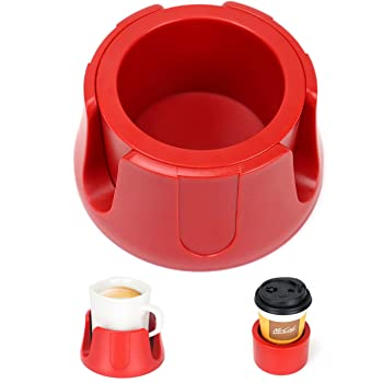 Anti-Spill Cup Holder Drink Coaster with Anti-Slip Mat Fits Drink for Home Office Outdoors (Red)