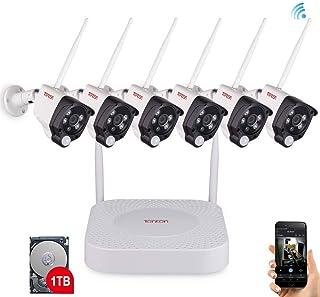 Tonton - Sistema de videovigilancia inalámbrico NVR (8 Canales 1080p 6 x 1080p WLAN cámara Exterior + Disco Duro de 1 TB Acceso en línea para Interiores y Exteriores)