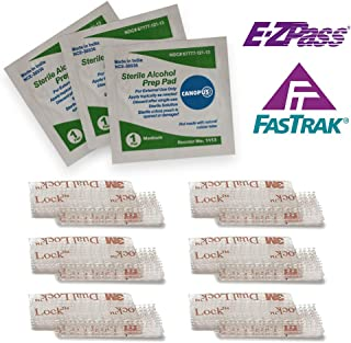 CANOPUS EZ Pass Mounting Strips: 3M Dual Lock Tape Ezpass Tag Holder, Peel-and-Stick Strips (6 Set) with Alcohol Prep Pad (3 Pieces) - (Pack of 3)