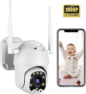 PTZ Camara Vigilancia Camara WiFi Exterior Seguimiento Inteligente con App Alarma Visión Nocturna Audio de Dos Vías Detección de Movimiento 355° Pan/90° Tilt