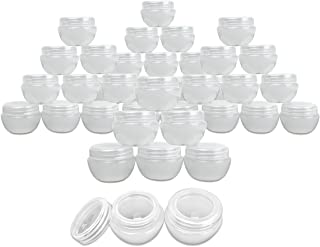 Beauticom 36 Pieces 30G/30ML (1 Oz) White Frosted Container Jars with Inner Liner for Makeup, Creams, Cosmetic Beauty Product Samples - BPA Free