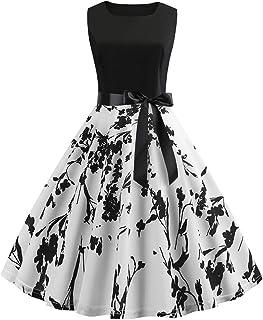 JUTOO Women Dress Vintage 1950s Retro Sleeveless O Neck A-Line Print Evening Party Prom Swing Dress,Cocktail
