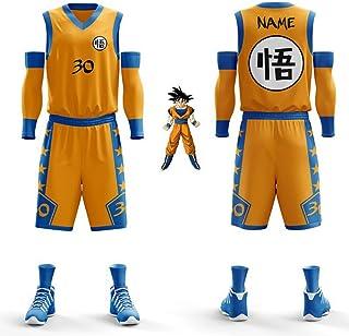 Hplights Dragon Ball Super Saiyan Goku Fans Boys Girls Ball Basketball Jerseys Kids Teen Sports Suits Shirt Vest + Top Sum...
