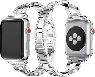 Dassions Metal Cuff Bangle Bracelet Bling Rhinestone Diamond Wristband X-Link Glitzy Strap Band for Apple Watch Band 42mm 44mm Women Iwatch Series 5, Series 4, Series 3 Series 2 (42mm/44mm Silver)
