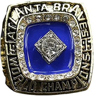 TWCUY 1995 Braves Baseball World Championship Ring for Fans Men's Gift Size 11 with A Wooden Box