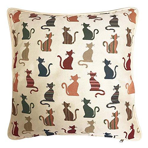 Signare Bowlingtasche Tapisserie Doppelseitig Quadratisch Überwurf Kissenbezug 45,7x 45,7cm/45cm x 45cm (Ohne Polsterung) in Cheeky Cat Design