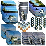 Havercamp Gone Fishin' Dinnerware Bundle   Dinner & Dessert Plates, Luncheon & Beverage Napkins, Cups, Picks   Great for Father's Day, Fishing Tournament, Birthday Party