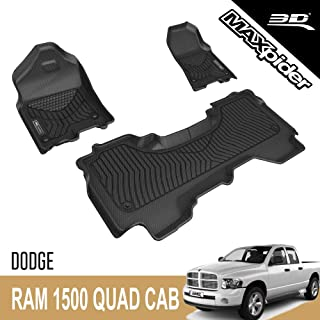 3D MAXpider Custom Fit All-Weather Floor Mat for 2019-2021 DODGE RAM 1500 QUAD CAB BLACK MAXTRAC SERIES