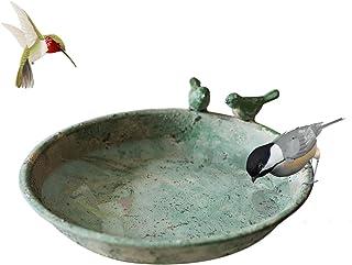 TentHome Bain pour Oiseaux Sauvages Bol d'alimentation pour Oiseaux Bassin d'oiseaux Rond en Fonte Balcon Terrasse Jardin ...