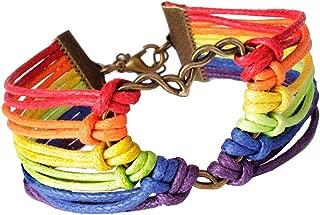 💗 Orcbee 💗 _Rainbow Flag Pride LGBT Charm Heart Braided Bracelet Gay Lesbian Love Bracelets