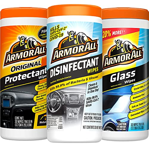 Armor All Protectant Wipes, Disinfectant Wipes, Glass Cleaner Wipes Variety Pack - 30 Count (Pack of 3) Specially Formulated Car Wipes