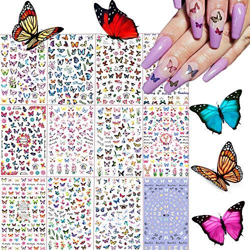 Kalolary 12 Blätter Schmetterling Nagelsticker Selbstklebend Nagelaufkleber Nail Art Sticker Nagel Abziehbilder für Mädchen Mitgebsel Kindergeburtstag DIY Nagel Kunst Dekoration