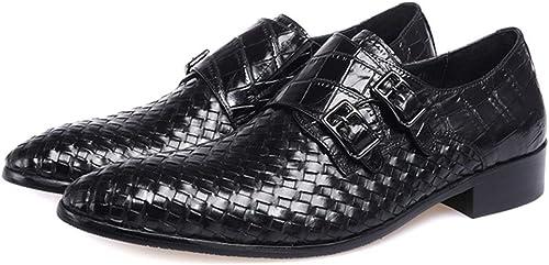 ZHRUI zapatos de cocodrilo Hechos a Mano para Hombre zapatos de Punta Estrecha de Cuero Genuino (Color   negro, tamaño   EU 41)