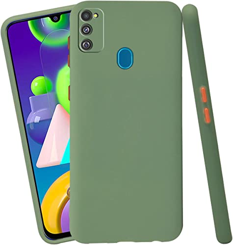 Jkobi Soft Silicon Camera Protection Back Cover Case for Samsung Galaxy M30s Samsung Galaxy M21 with Color Highligted Smoke Buttons Green