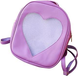 Wultia - Candy Color PU Leather Ita Bag DIY Transparent Love Heart Shape Backpack Kawaii Harajuku Schoolbags for Teenage Girls Purple