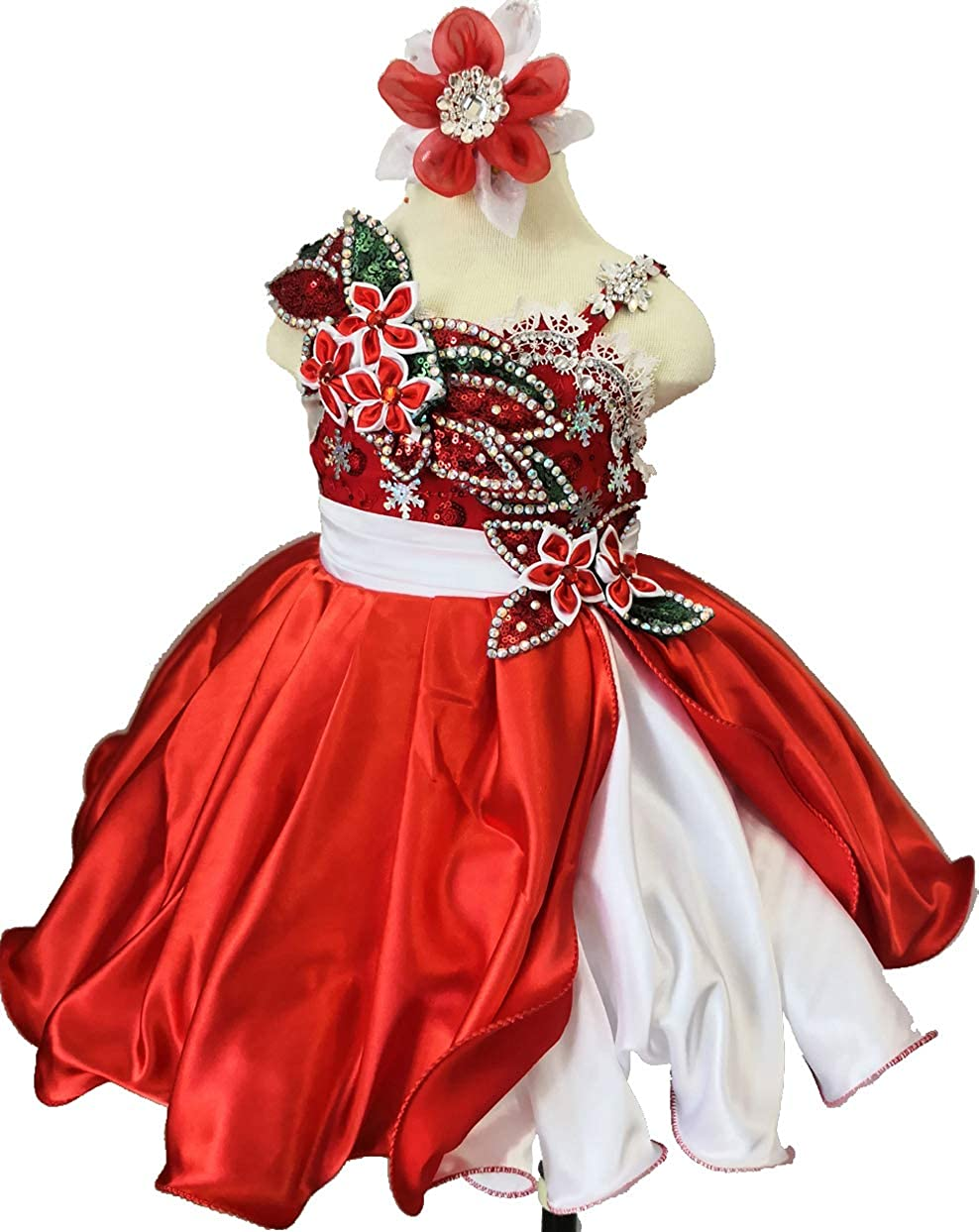 Jennifer G221A Design Christmas Toddler Baby Newborn Little Girl's Pageant Party Birthday Dress RED Size 12-18M
