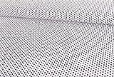 Qualitativ hochwertiger Baumwollstoff, Schwarze Sterne auf Weiß als Meterware zum Nähen von Erwachsenen- und Kinderkleidung, 50 cm