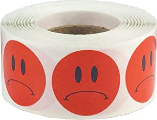 Sad Face Stickers Red Frowny Face Labels 1 Inch 500 Total Adhesive Stickers